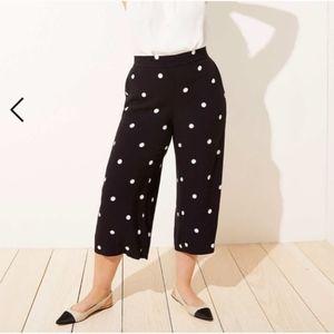 LOFT plus pull on polka dot wide leg crop